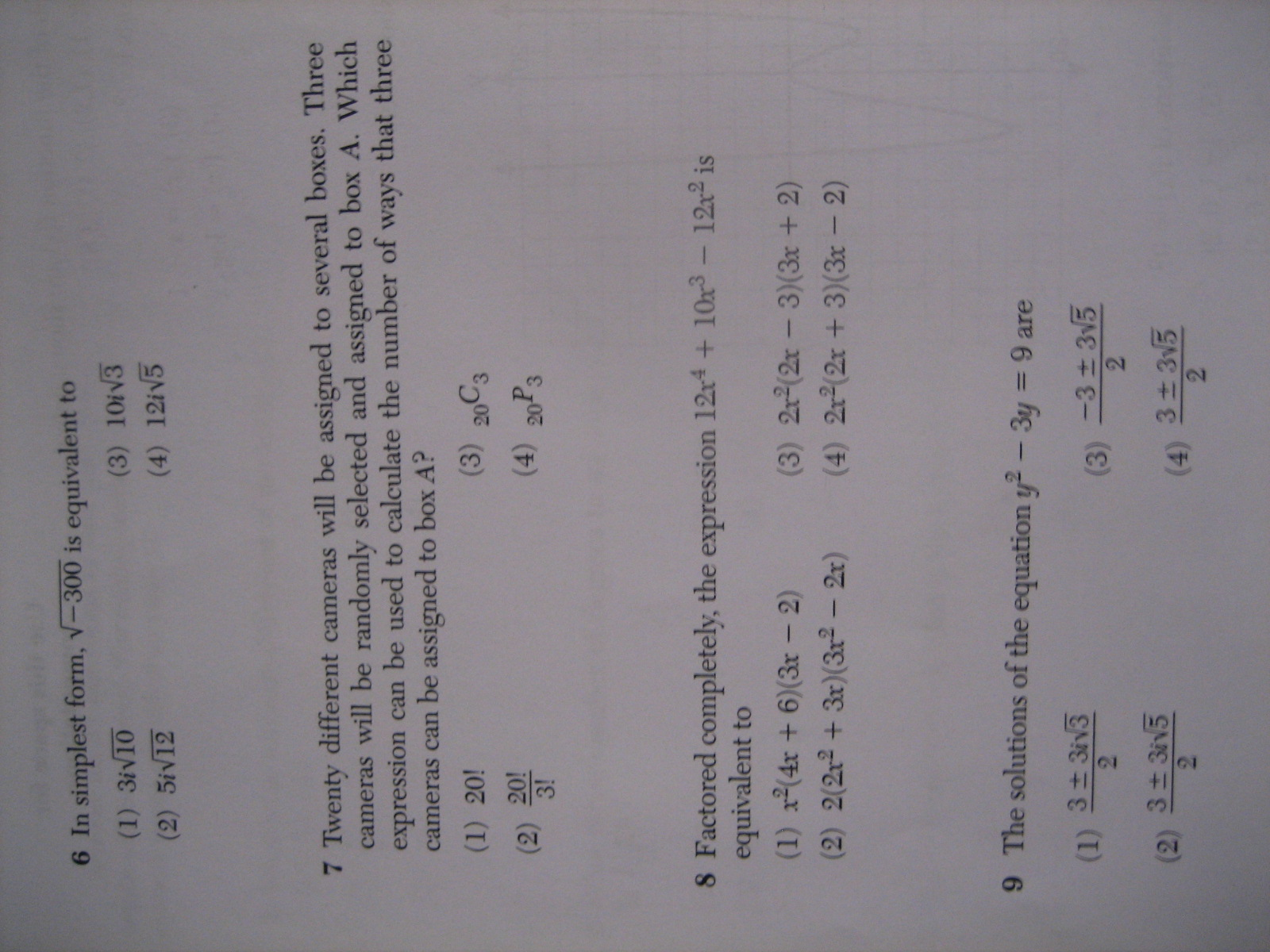 Algebra 2 Trigonometry Regents Full List Of Multiple Choice