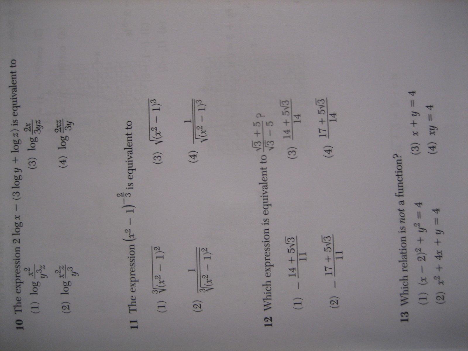Algebra 2 / Trigonometry Regents – full list of multiple choice
